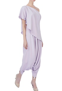 lilac-one-shoulder-cape-dhoti-pants