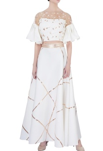 white-neoprene-flared-skirt