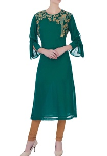 green-georgette-kurta-churidar-pants