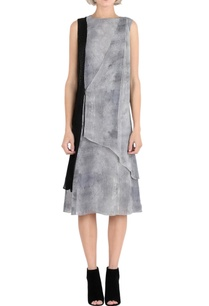 grey-printed-overlap-dress