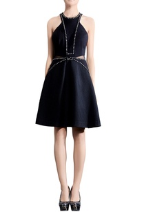 navy-blue-waist-cutout-skater-dress