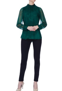 green-silk-high-neck-blouse