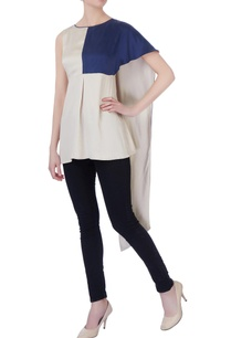 beige-navy-blue-color-block-top