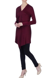 burgundy-v-neck-silk-blouse