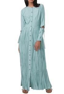 aqua-blue-striped-gathered-dress
