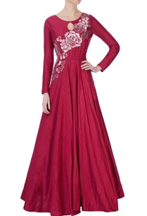 red-raw-silk-flared-gown