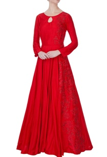 red-flared-embroidered-gown