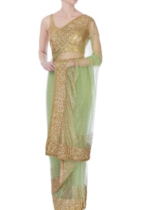 green-net-sari-with-blouse-piece-petticoat