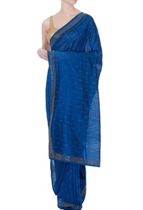 blue-silk-sari-with-blouse-piece-petticoat