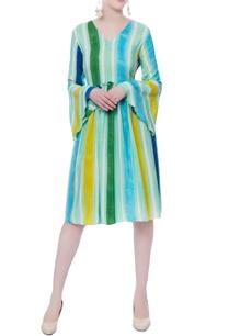 multicolored-striped-printed-dress