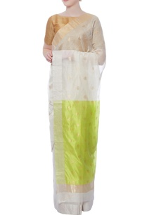 off-white-lotus-zari-sari