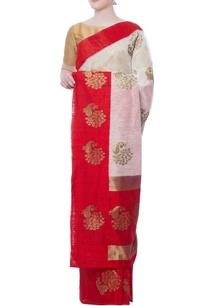 white-peacock-motif-zari-sari