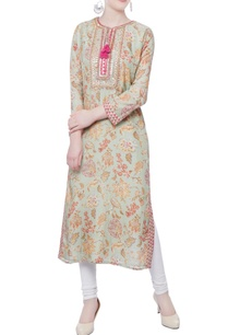 green-floral-printed-kurta-with-side-slits