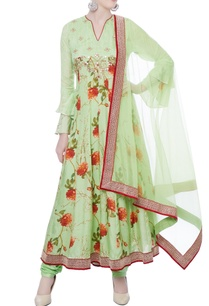green-chanderi-silk-anarkali-set
