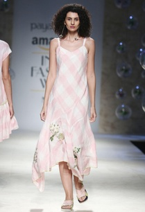 white-pink-asymmetric-dress