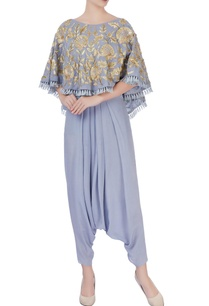 grey-tassel-cape-with-dhoti-pants