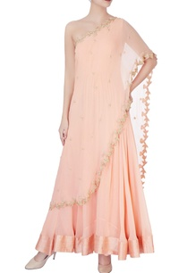 peach-embellished-one-shoulder-anarkali