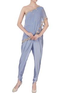 grey-one-shoulder-cape-dhoti-pants
