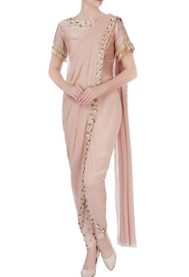 beige-draped-sari-with-pants-blouse