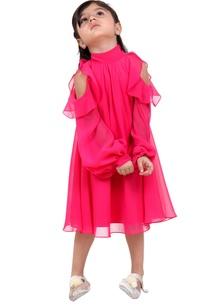 pink-cold-shoulder-a-line-dress