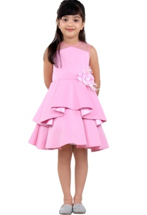 pink-ruffle-layer-short-dress