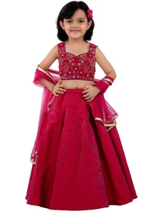 fuchsia-pink-floral-embroidered-lehenga-set