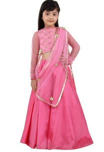 pink-brocade-lehenga-set
