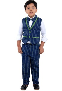 blue-striped-vest-jacket-set