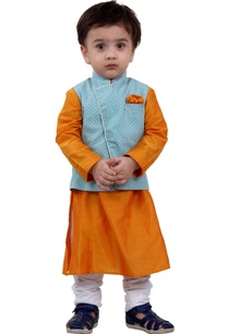 blue-jacket-with-orange-kurta-set