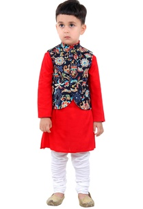 red-kurta-with-multicolored-jacket-pants