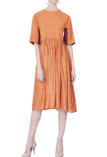orange-plain-silk-dress