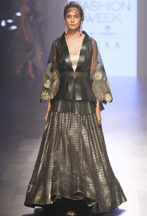 black-gold-cape-with-lehenga