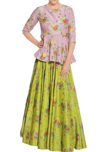 green-lehenga-with-purple-peplum-blouse