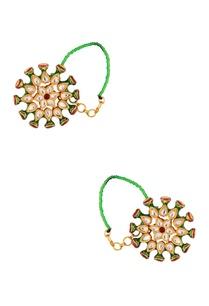 green-kundan-floral-earrings