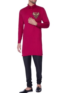 red-embroidered-classic-kurta