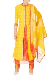yellow-brocade-kurta-set