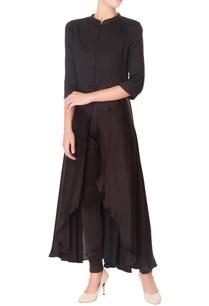 black-layered-cotton-kurta