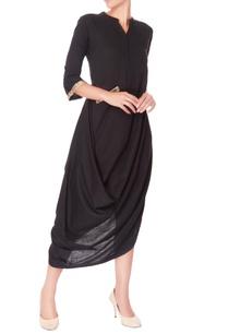 black-embroidered-draped-dress