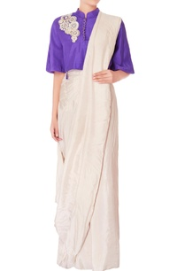 cream-pre-draped-sari-with-purple-blouse