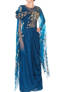 blue-embellished-sari-gown