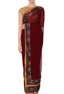burgundy-sari-with-unstitched-blouse