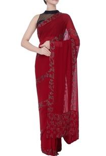 maroon-georgette-silk-sari