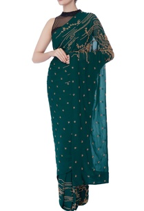 green-cutdana-work-sari