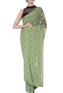 green-georgette-cutdana-work-sari