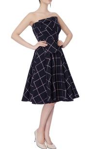 black-white-check-pattern-dress