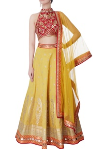 red-halter-blouse-yellow-lehenga-with-dupatta