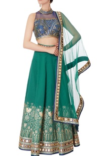 blue-raw-silk-blouse-lehenga-with-dupatta