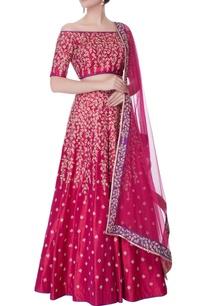 pink-off-shoulder-blouse-with-lehenga-dupatta