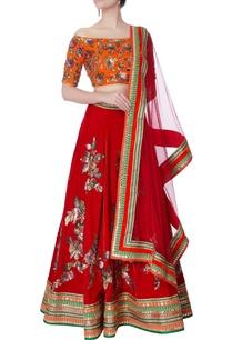 orange-velvet-blouse-red-lehenga-set