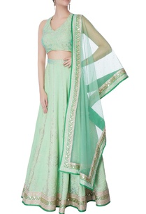 sea-green-raw-silk-lehenga-set